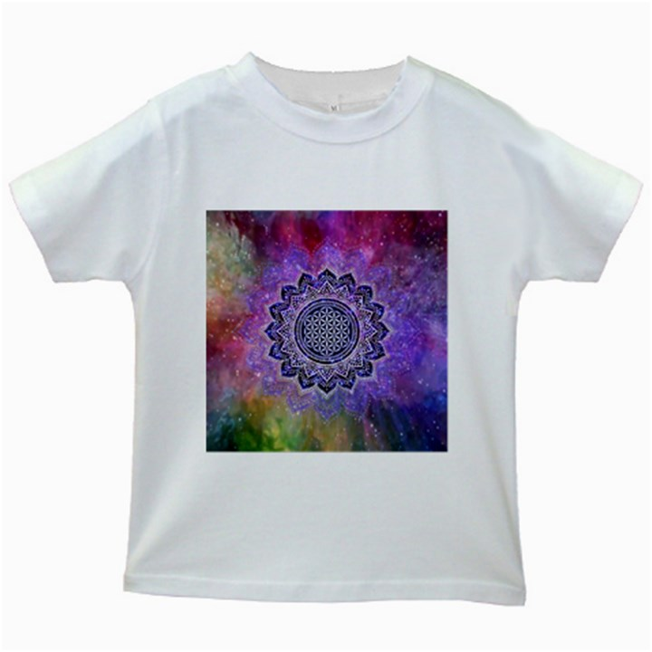 Flower Of Life Indian Ornaments Mandala Universe Kids White T-Shirts