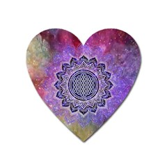 Flower Of Life Indian Ornaments Mandala Universe Heart Magnet