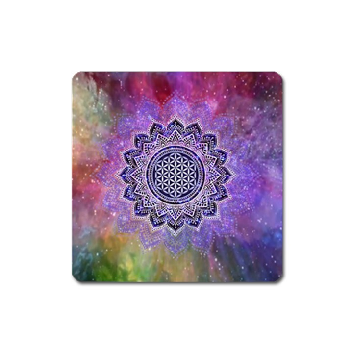 Flower Of Life Indian Ornaments Mandala Universe Square Magnet