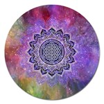 Flower Of Life Indian Ornaments Mandala Universe Magnet 5  (Round) Front