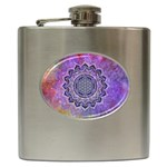 Flower Of Life Indian Ornaments Mandala Universe Hip Flask (6 oz) Front