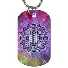 Flower Of Life Indian Ornaments Mandala Universe Dog Tag (Two Sides)