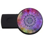 Flower Of Life Indian Ornaments Mandala Universe USB Flash Drive Round (1 GB)  Front