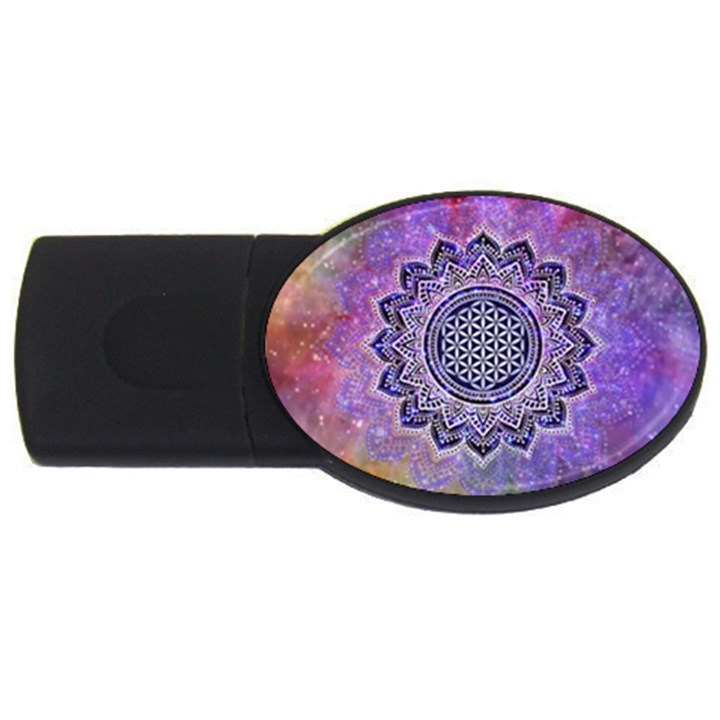Flower Of Life Indian Ornaments Mandala Universe USB Flash Drive Oval (2 GB)