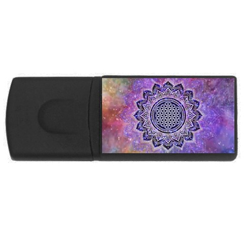 Flower Of Life Indian Ornaments Mandala Universe USB Flash Drive Rectangular (2 GB)