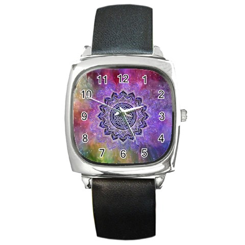 Flower Of Life Indian Ornaments Mandala Universe Square Metal Watch