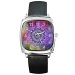 Flower Of Life Indian Ornaments Mandala Universe Square Metal Watch Front