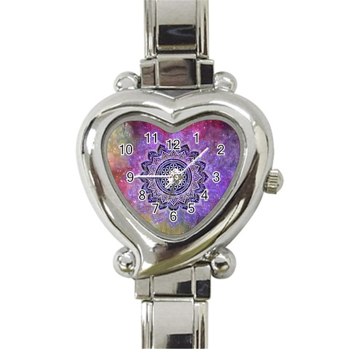 Flower Of Life Indian Ornaments Mandala Universe Heart Italian Charm Watch