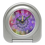 Flower Of Life Indian Ornaments Mandala Universe Travel Alarm Clocks Front