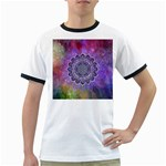 Flower Of Life Indian Ornaments Mandala Universe Ringer T-Shirts Front