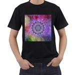 Flower Of Life Indian Ornaments Mandala Universe Men s T-Shirt (Black) (Two Sided) Front