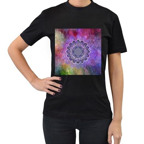 Flower Of Life Indian Ornaments Mandala Universe Women s T-Shirt (Black) (Two Sided)