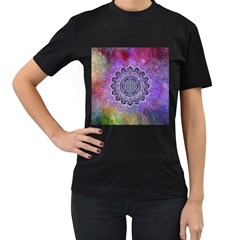 Flower Of Life Indian Ornaments Mandala Universe Women s T Shirt (black) (two Sided)