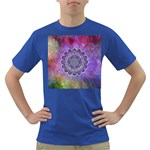 Flower Of Life Indian Ornaments Mandala Universe Dark T-Shirt Front