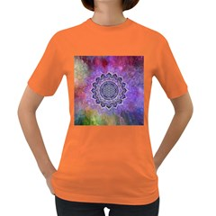 Flower Of Life Indian Ornaments Mandala Universe Women s Dark T Shirt