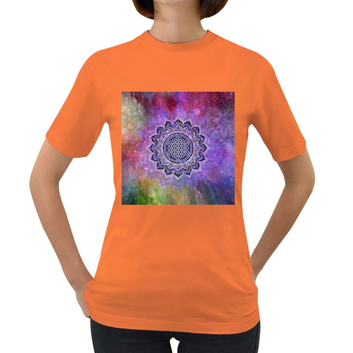 Flower Of Life Indian Ornaments Mandala Universe Women s Dark T-Shirt