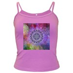 Flower Of Life Indian Ornaments Mandala Universe Dark Spaghetti Tank Front