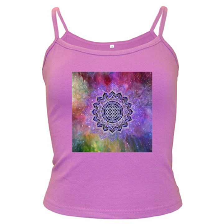 Flower Of Life Indian Ornaments Mandala Universe Dark Spaghetti Tank