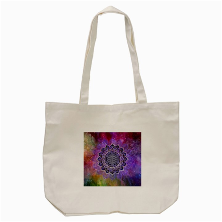 Flower Of Life Indian Ornaments Mandala Universe Tote Bag (Cream)