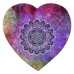 Flower Of Life Indian Ornaments Mandala Universe Jigsaw Puzzle (heart)