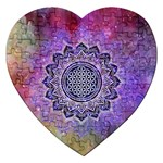 Flower Of Life Indian Ornaments Mandala Universe Jigsaw Puzzle (Heart) Front