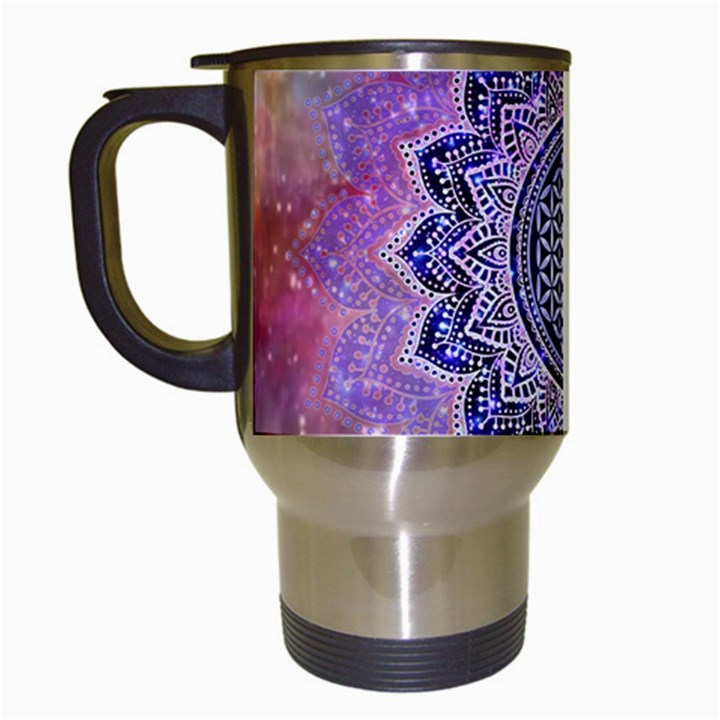 Flower Of Life Indian Ornaments Mandala Universe Travel Mugs (White)