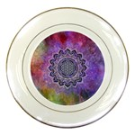 Flower Of Life Indian Ornaments Mandala Universe Porcelain Plates Front