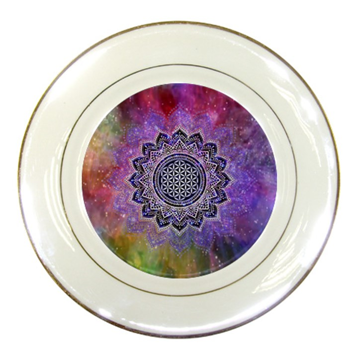 Flower Of Life Indian Ornaments Mandala Universe Porcelain Plates