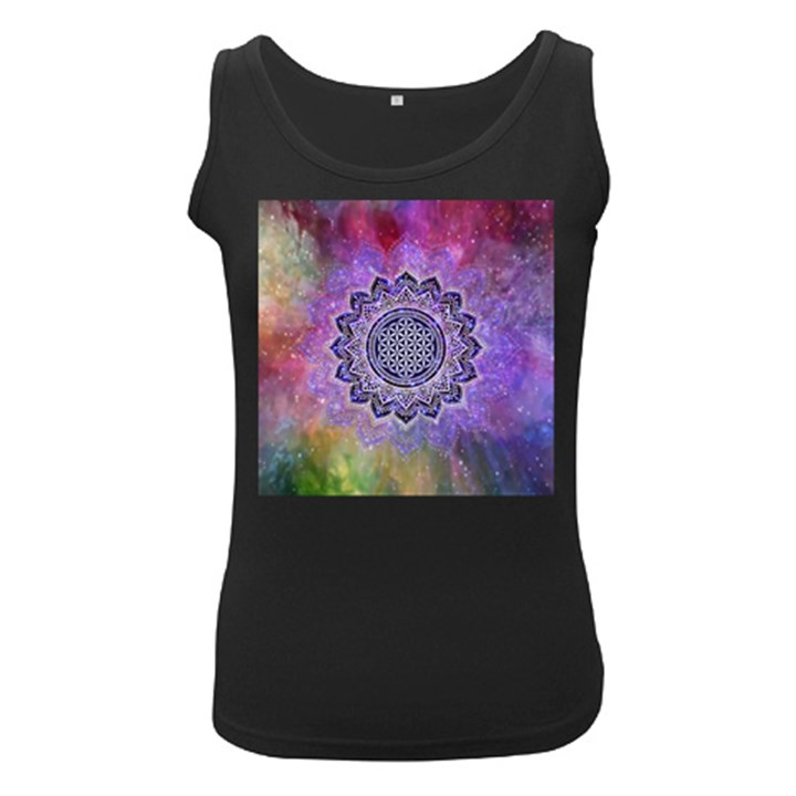 Flower Of Life Indian Ornaments Mandala Universe Women s Black Tank Top