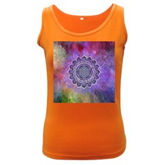 Flower Of Life Indian Ornaments Mandala Universe Women s Dark Tank Top