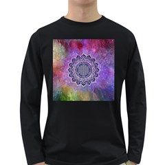 Flower Of Life Indian Ornaments Mandala Universe Long Sleeve Dark T-Shirts