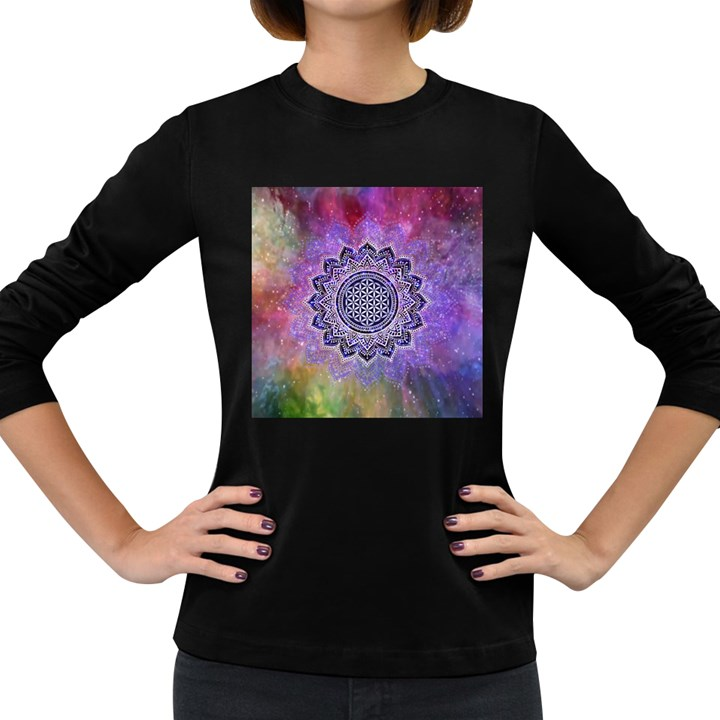 Flower Of Life Indian Ornaments Mandala Universe Women s Long Sleeve Dark T-Shirts