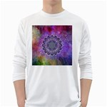 Flower Of Life Indian Ornaments Mandala Universe White Long Sleeve T-Shirts Front