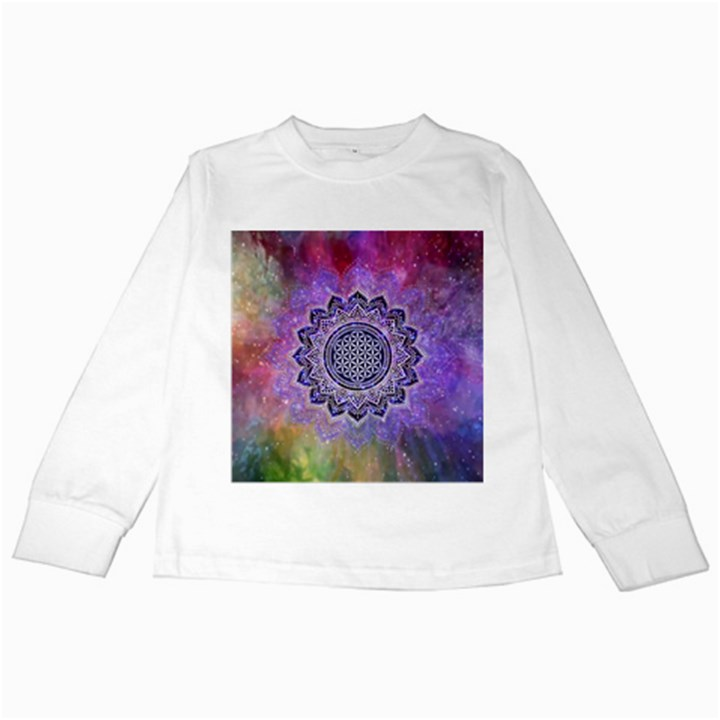Flower Of Life Indian Ornaments Mandala Universe Kids Long Sleeve T-Shirts