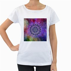 Flower Of Life Indian Ornaments Mandala Universe Women s Loose-Fit T-Shirt (White)