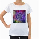 Flower Of Life Indian Ornaments Mandala Universe Women s Loose-Fit T-Shirt (White) Front