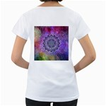 Flower Of Life Indian Ornaments Mandala Universe Women s Loose-Fit T-Shirt (White) Back