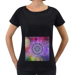 Flower Of Life Indian Ornaments Mandala Universe Women s Loose Fit T Shirt (black)