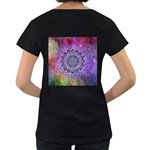 Flower Of Life Indian Ornaments Mandala Universe Women s Loose-Fit T-Shirt (Black) Back