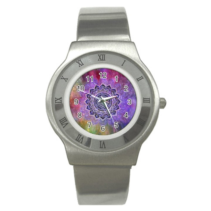 Flower Of Life Indian Ornaments Mandala Universe Stainless Steel Watch