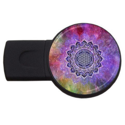 Flower Of Life Indian Ornaments Mandala Universe USB Flash Drive Round (4 GB)
