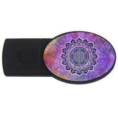 Flower Of Life Indian Ornaments Mandala Universe Usb Flash Drive Oval (4 Gb)