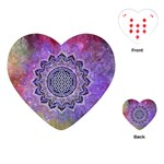 Flower Of Life Indian Ornaments Mandala Universe Playing Cards (Heart)  Front