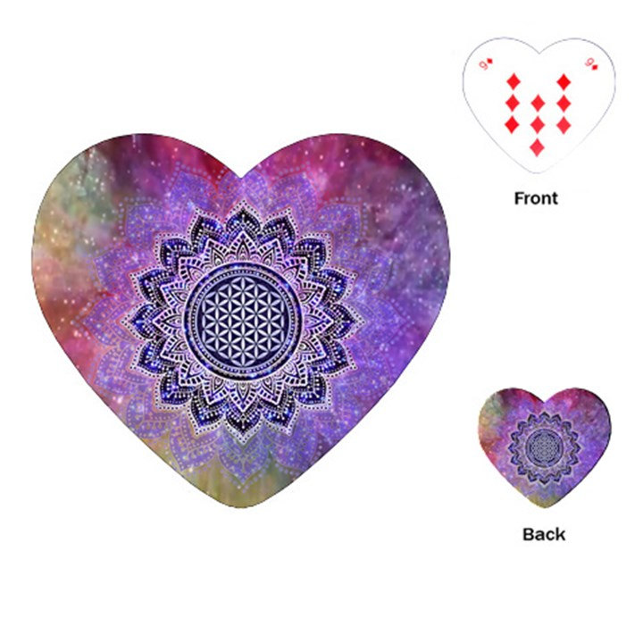 Flower Of Life Indian Ornaments Mandala Universe Playing Cards (Heart)