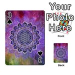 Flower Of Life Indian Ornaments Mandala Universe Playing Cards 54 Designs  Front - Spade3