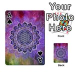 Flower Of Life Indian Ornaments Mandala Universe Playing Cards 54 Designs  Front - SpadeA