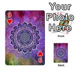 Flower Of Life Indian Ornaments Mandala Universe Playing Cards 54 Designs  Front - Heart9