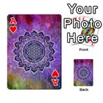 Flower Of Life Indian Ornaments Mandala Universe Playing Cards 54 Designs  Front - HeartA