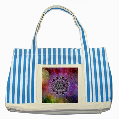 Flower Of Life Indian Ornaments Mandala Universe Striped Blue Tote Bag