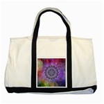 Flower Of Life Indian Ornaments Mandala Universe Two Tone Tote Bag Front